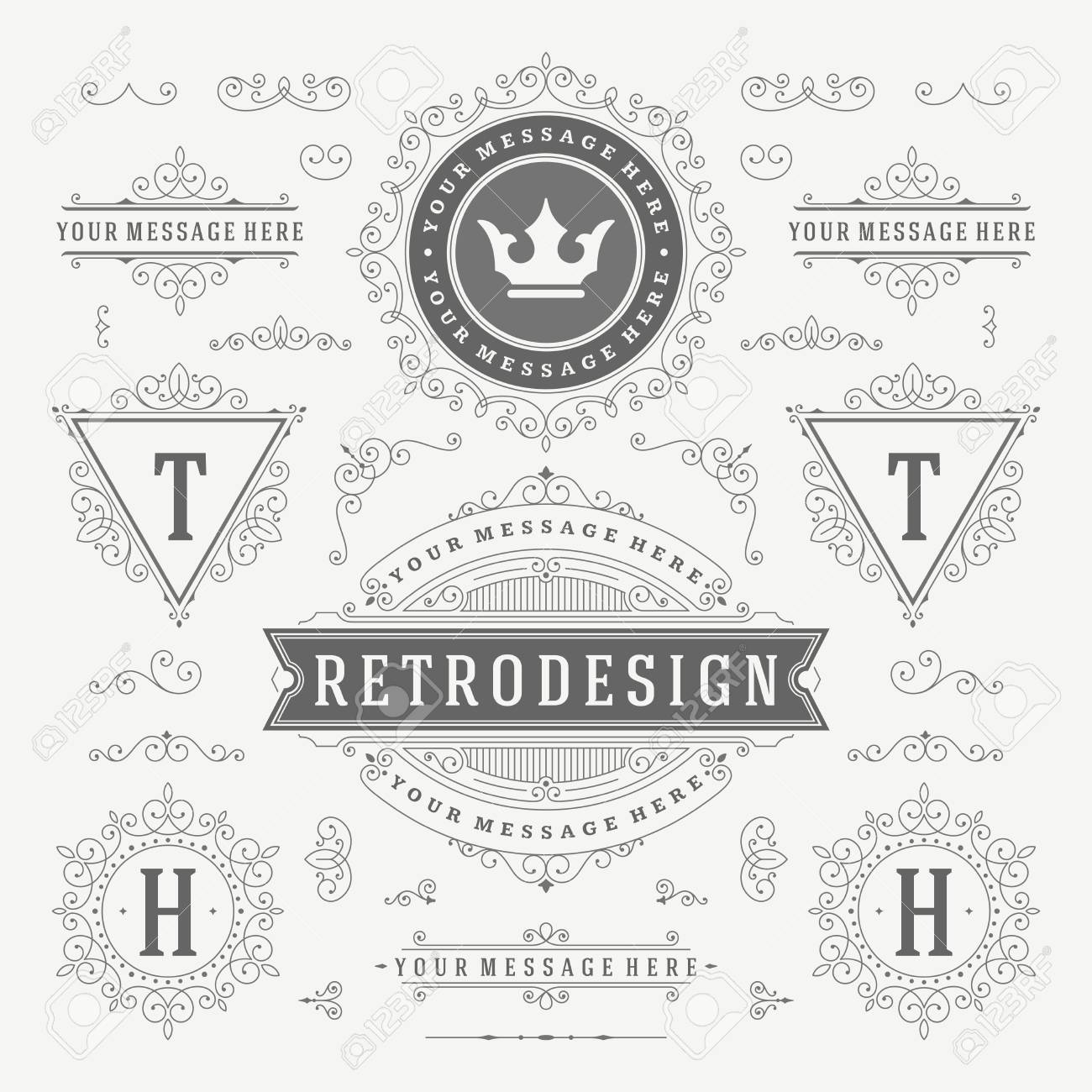 Vintage Vector Ornaments Decorations Design Elements. Flourishes calligraphic combinations retro for Invitations, Restaurant Menu, Royalty, Typography, Quotes, Greeting cards, Certificate and other. - 46168382