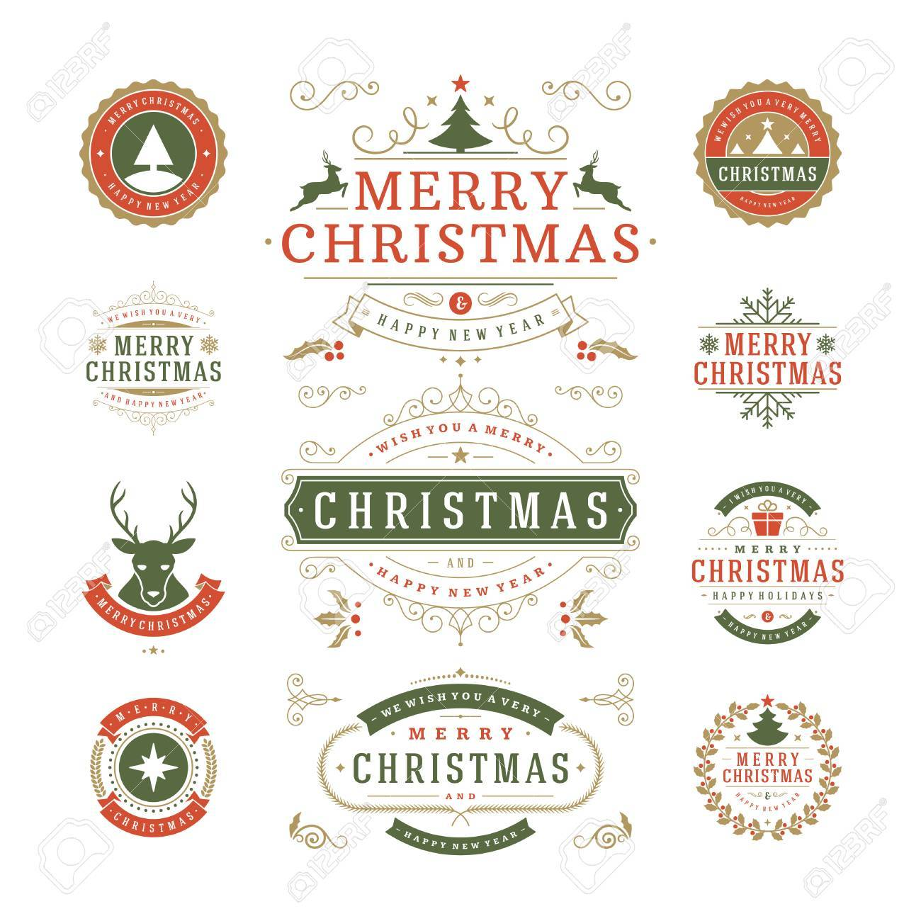 Christmas Labels and Badges Vector Design. Decorations elements, Symbols, Icons, Frames, Ornaments and Ribbons, set. Typographic Merry Christmas and Happy Holidays wishes. - 46169002