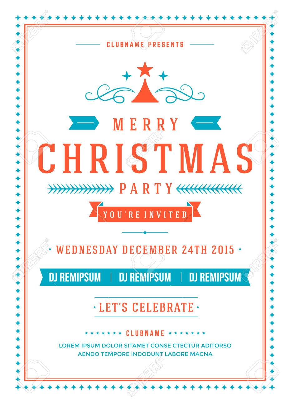Christmas Party Invitation Retro Typography And Ornament Decoration ...