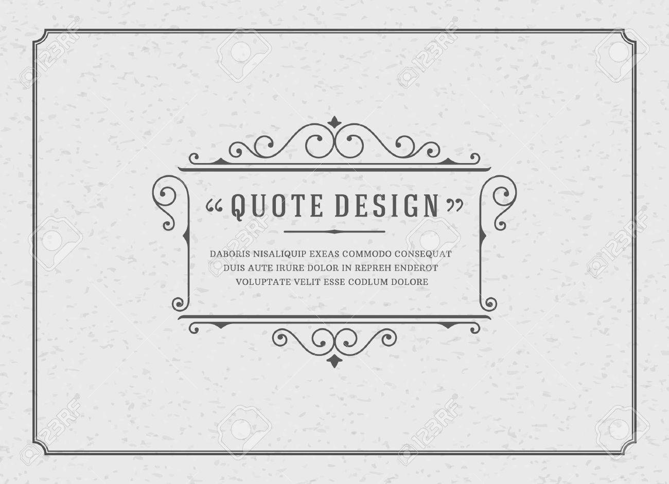 Vintage Ornament Quote Marks Box Frame Vector template design and place for text. Retro flourishes frame chalkboard style. - 46483035