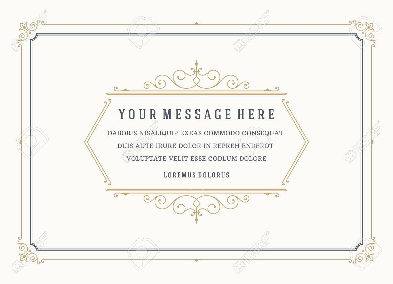 Vintage Ornament Quote Marks Box Frame Vector template design and place for text. Retro flourishes frame chalkboard style. - 46483040