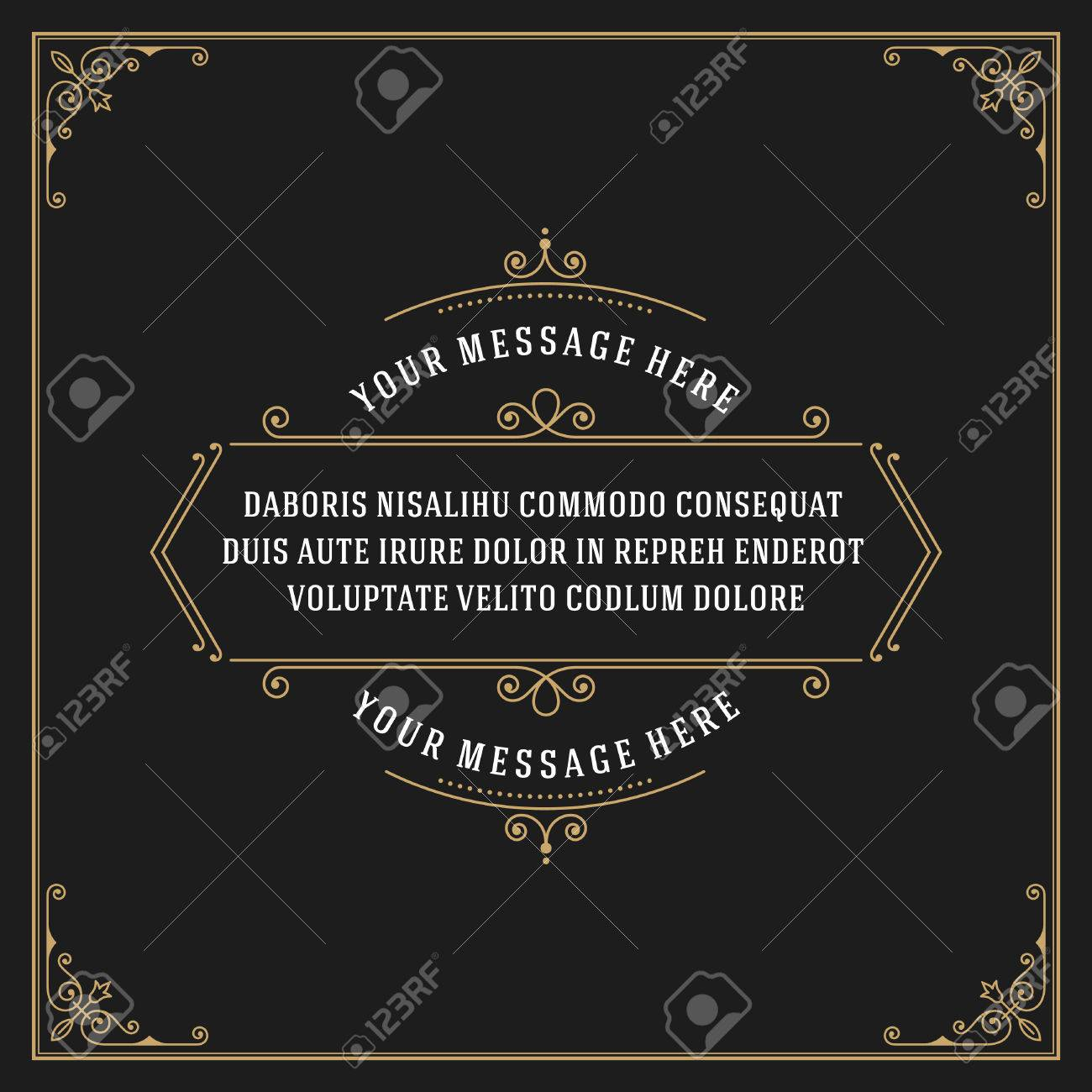 Vintage Ornament Quote Marks Box Frame Vector template design and place for text. Retro flourishes frame chalkboard style. - 46483048