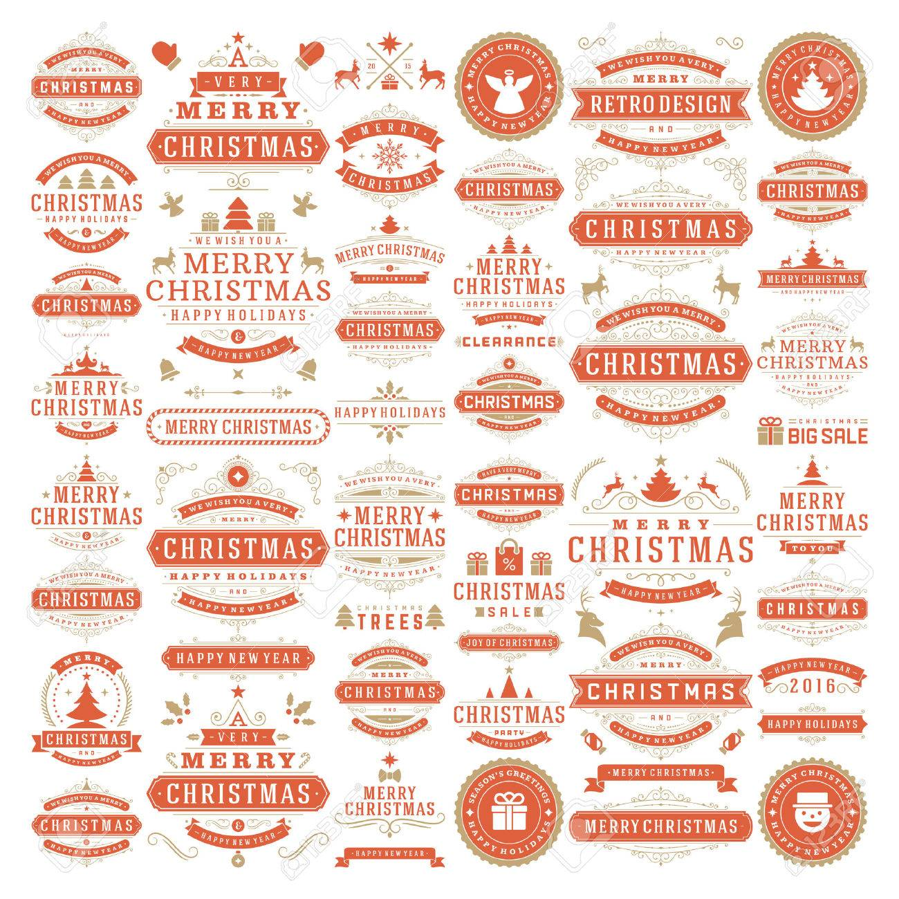 Christmas decorations vector design elements. Typographic messages, vintage labels, frames ribbons, badges logos, ornaments set. Flourishes calligraphic. Big Collection. - 46483650