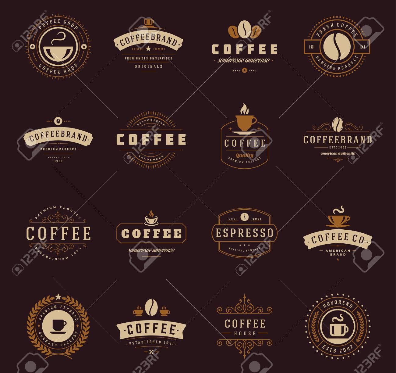 Coffee Shop Logos, Badges and Labels Design Elements set. Cup, beans, cafe vintage style objects retro vector illustration. - 46917588