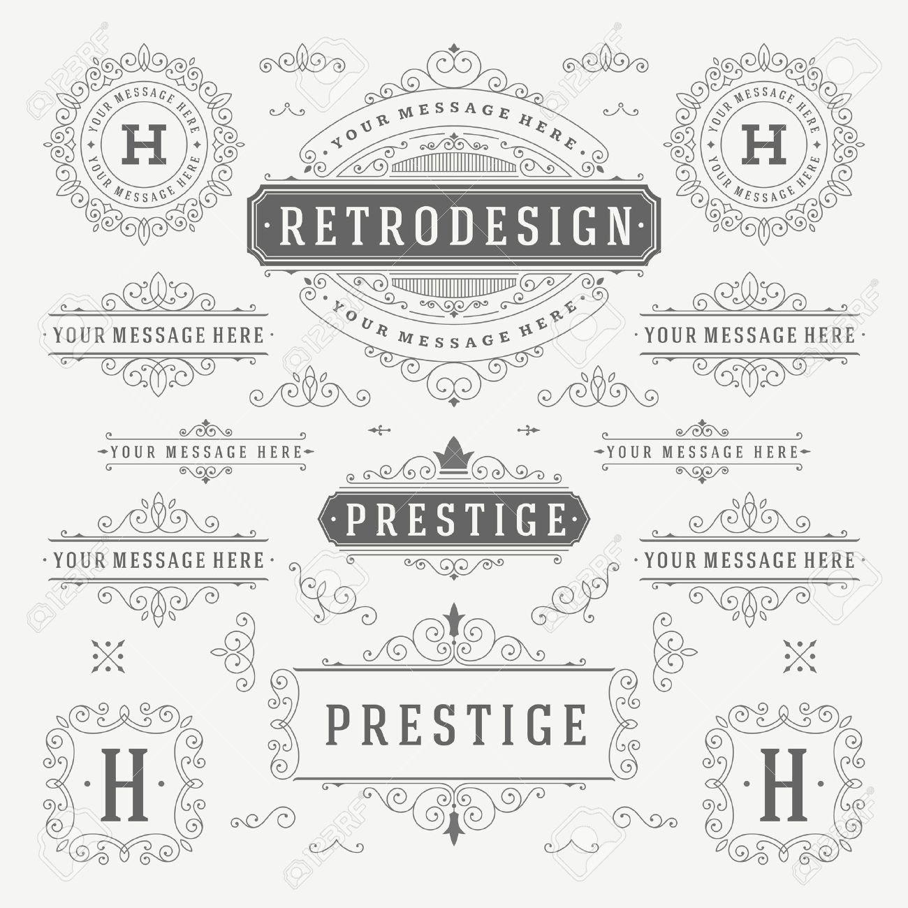 Vintage Vector Ornaments Decorations Design Elements. Flourishes calligraphic combinations retro for Invitations, Restaurant Menu, Royalty, Typography, Quotes, Greeting cards, Certificate and other. - 46917726