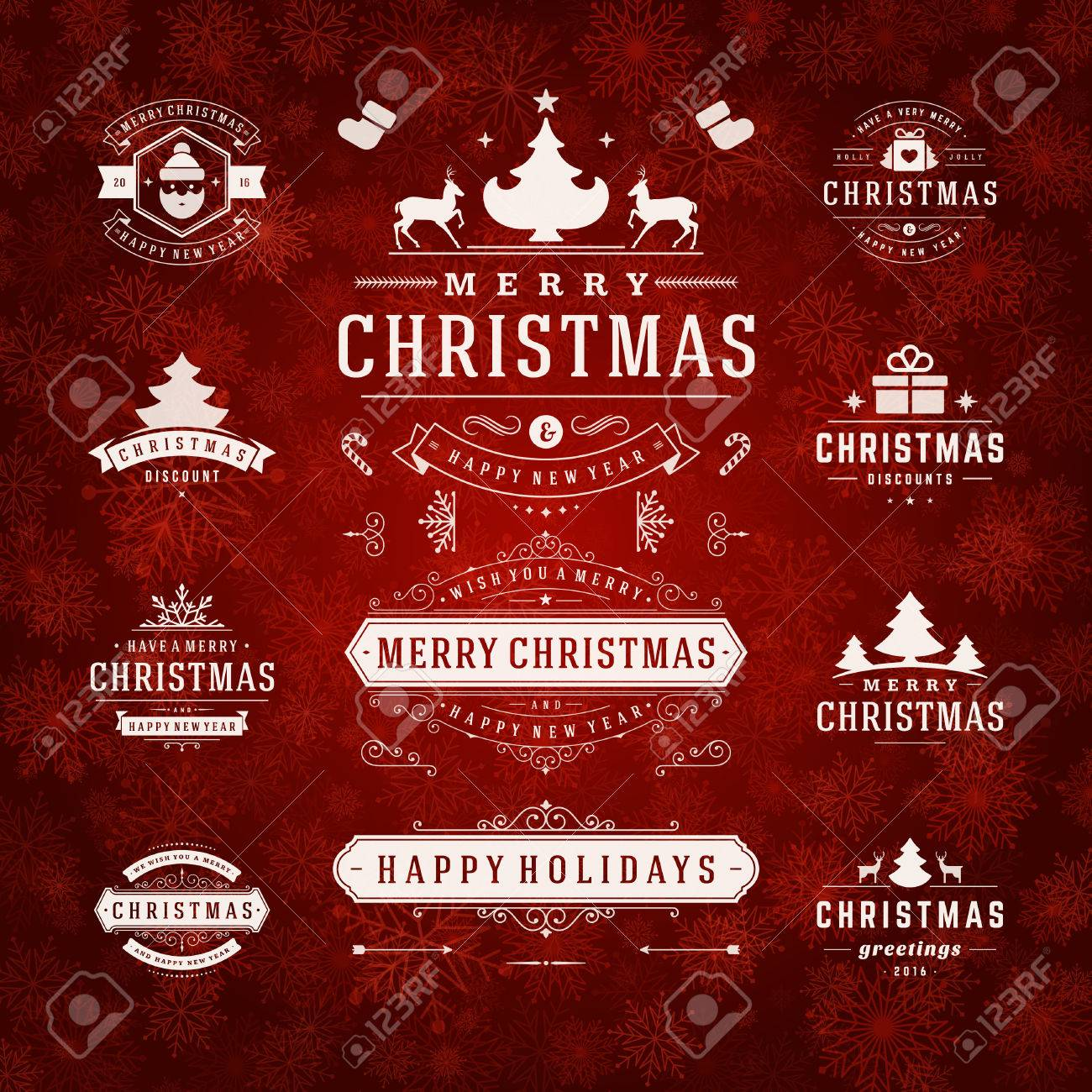 Christmas Decorations Vector Design Elements. Typographic elements, Symbols, Icons, Vintage Labels, Badges, Frames, Ornaments set. Flourishes calligraphic. Merry Christmas and Happy Holidays wishes. - 46920531