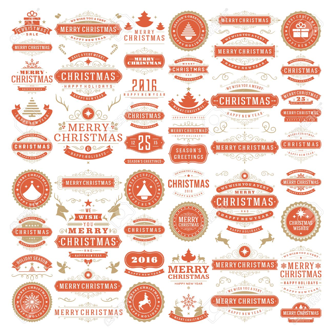 Christmas decorations vector design elements. Typographic messages, vintage labels, frames ribbons, badges logos, ornaments set. Flourishes calligraphic. Big Collection. - 46920542