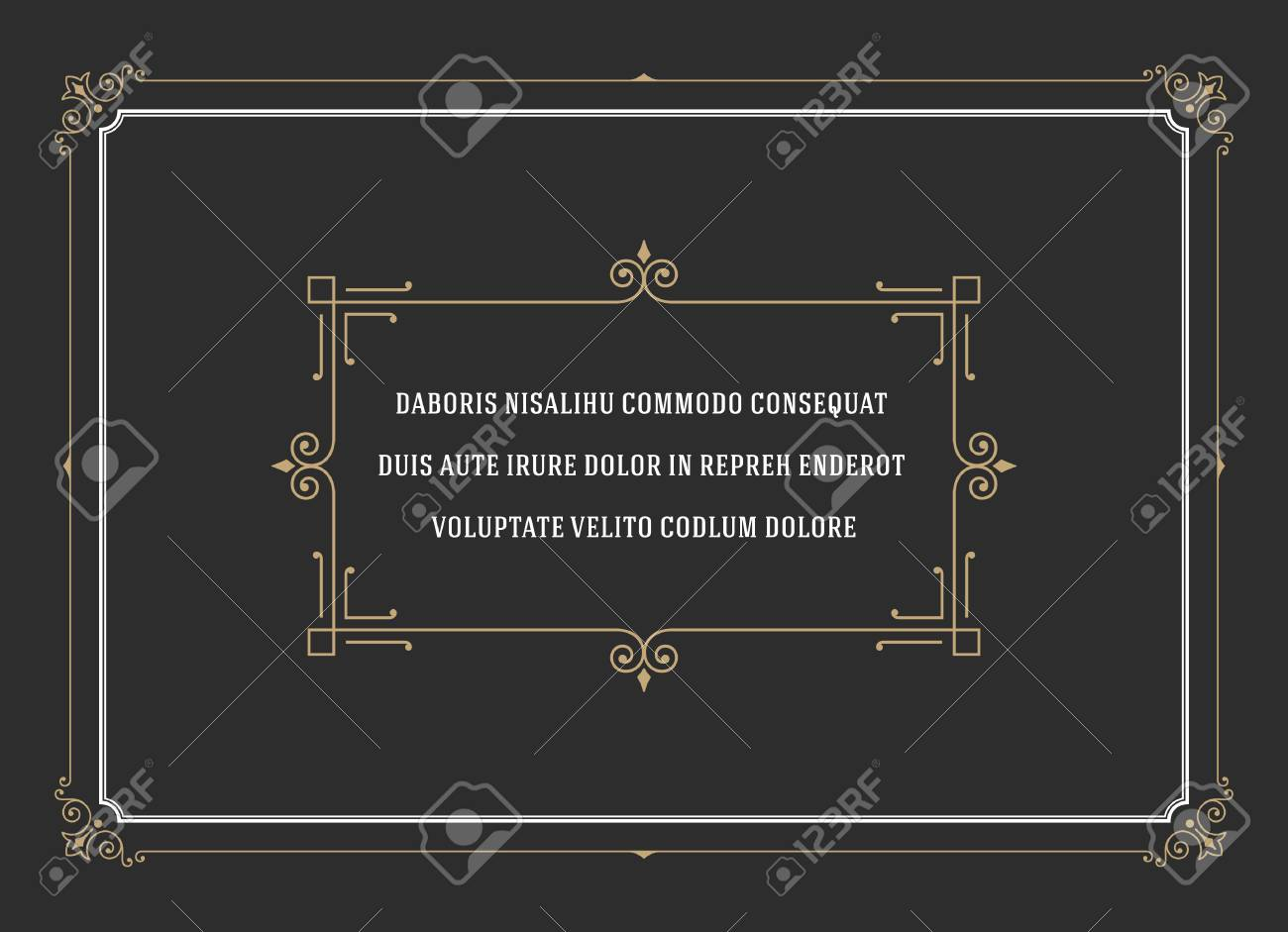 Vintage Ornament Quote Marks Box Frame Vector template design and place for text. Retro flourishes frame chalkboard style. - 47409266