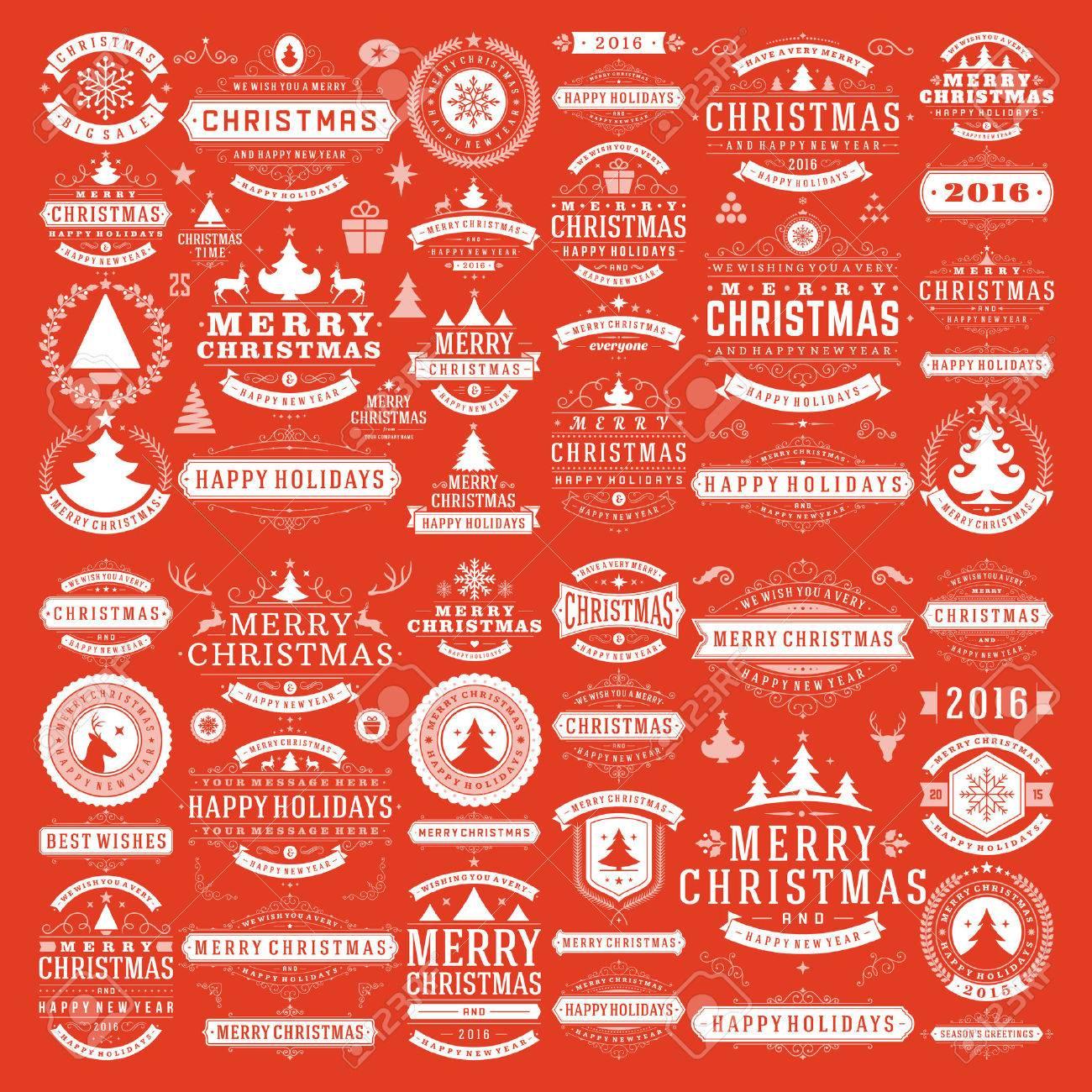 Christmas decorations vector design elements. Typographic messages, vintage labels, frames ribbons, badges, ornaments set. Flourishes calligraphic. Big Collection. - 47410144