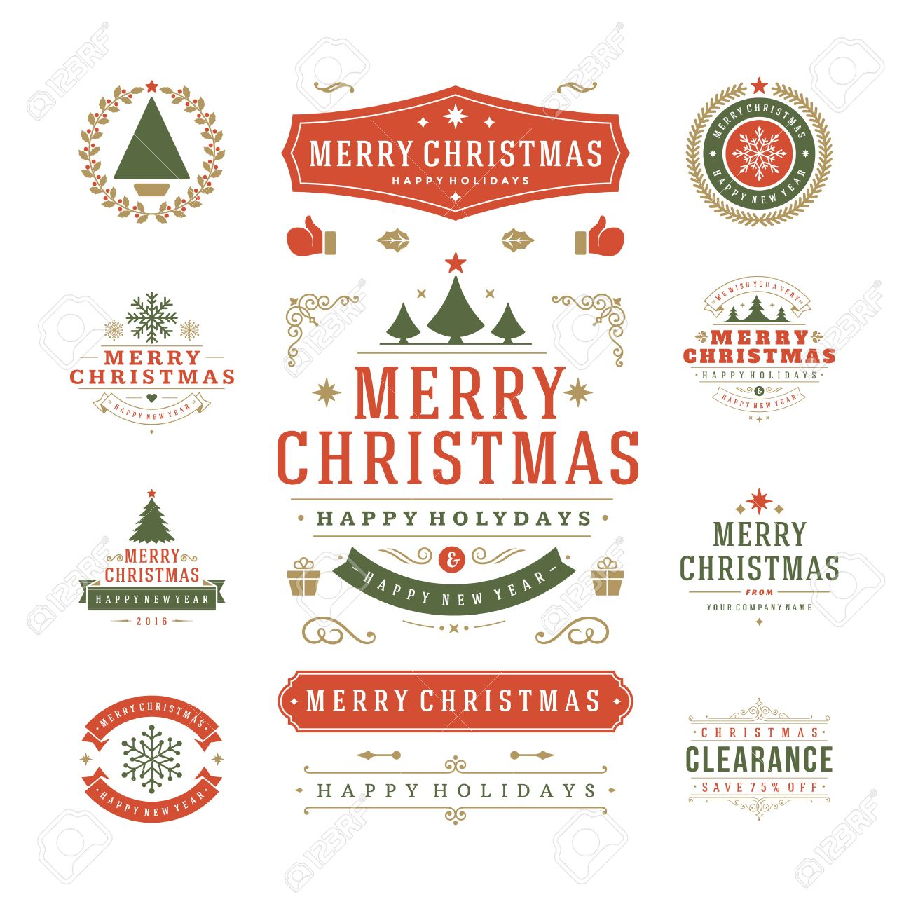 Christmas Labels and Badges Vector Design. Decorations elements, Symbols, Icons, Frames, Ornaments and Ribbons, set. Typographic Merry Christmas and Happy Holidays wishes. - 47615849