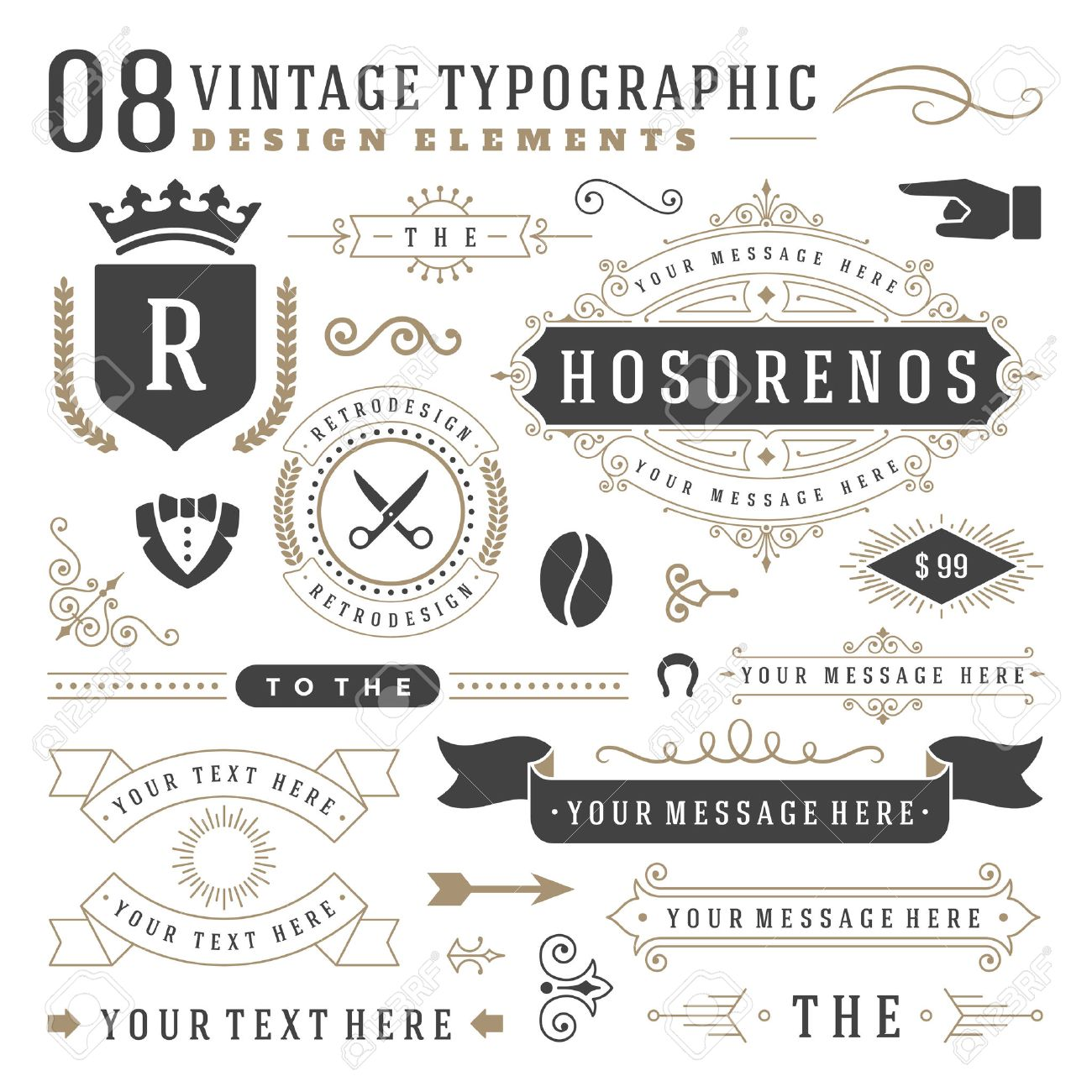 Retro Vintage insignias set. Vector design elements, business signs, identity, labels, badges, ribbons, stickers and other branding objects. - 47936596