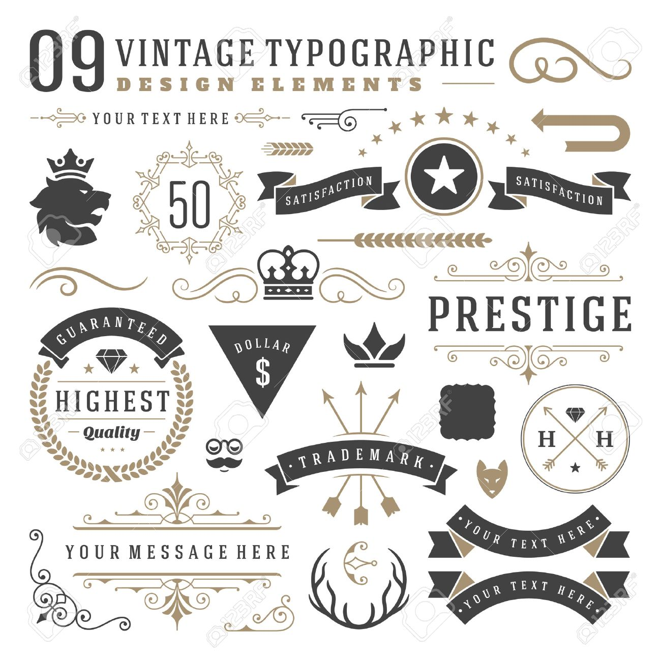 Retro vintage typographic design elements. Labels ribbons, logos symbols, crowns, calligraphy swirls, ornaments and other. Stock Vector - 48325028
