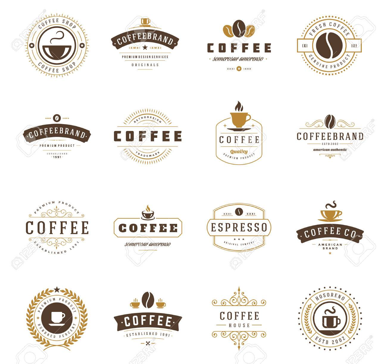 Coffee Shop Logos, Badges and Labels Design Elements set. Cup, beans, cafe vintage style objects retro vector illustration. - 48325026
