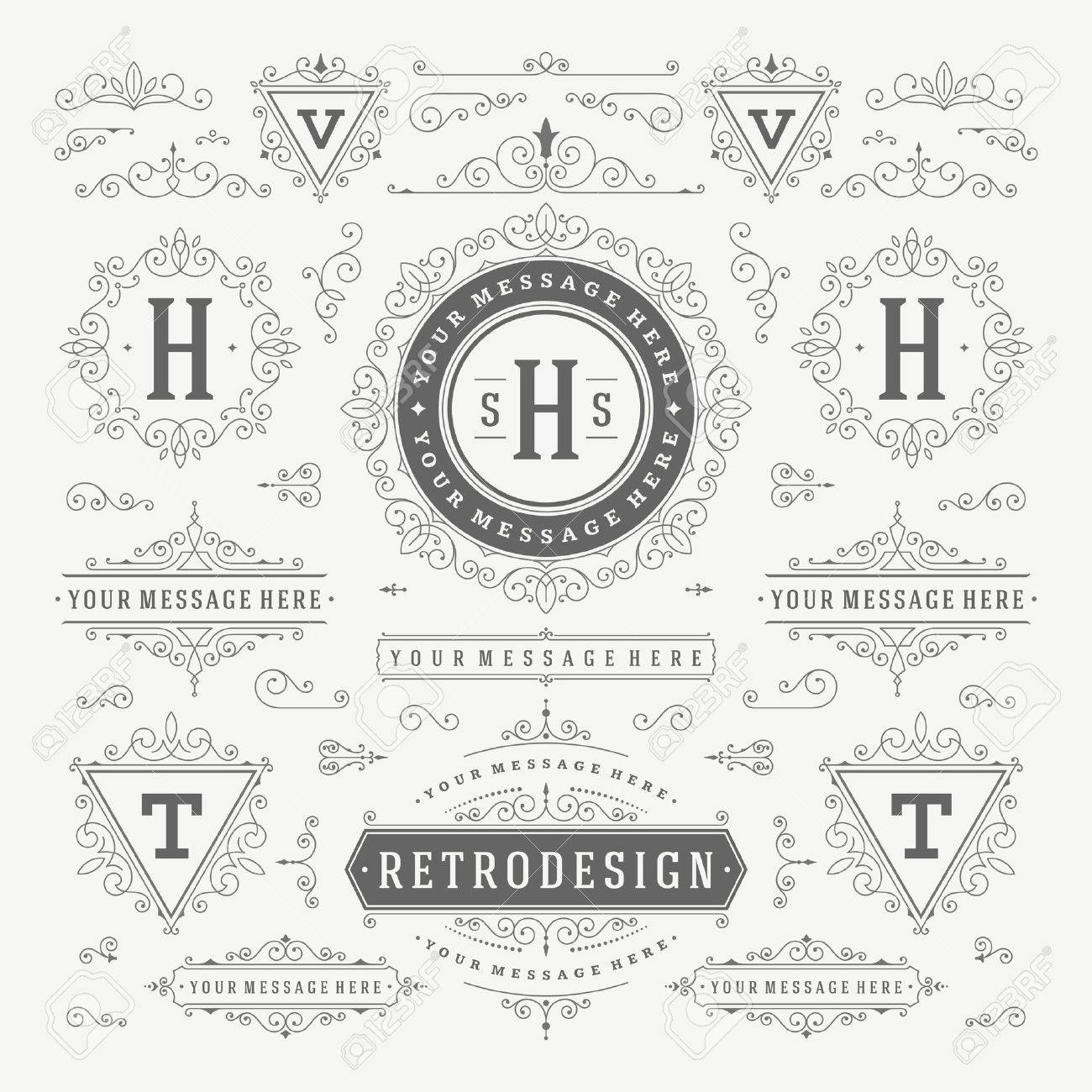Vintage Vector Ornaments Decorations Design Elements. Flourishes calligraphic combinations retro for Invitations, Restaurant Menu, Royalty, Typography, Quotes, Greeting cards, Certificate and other. - 48325039