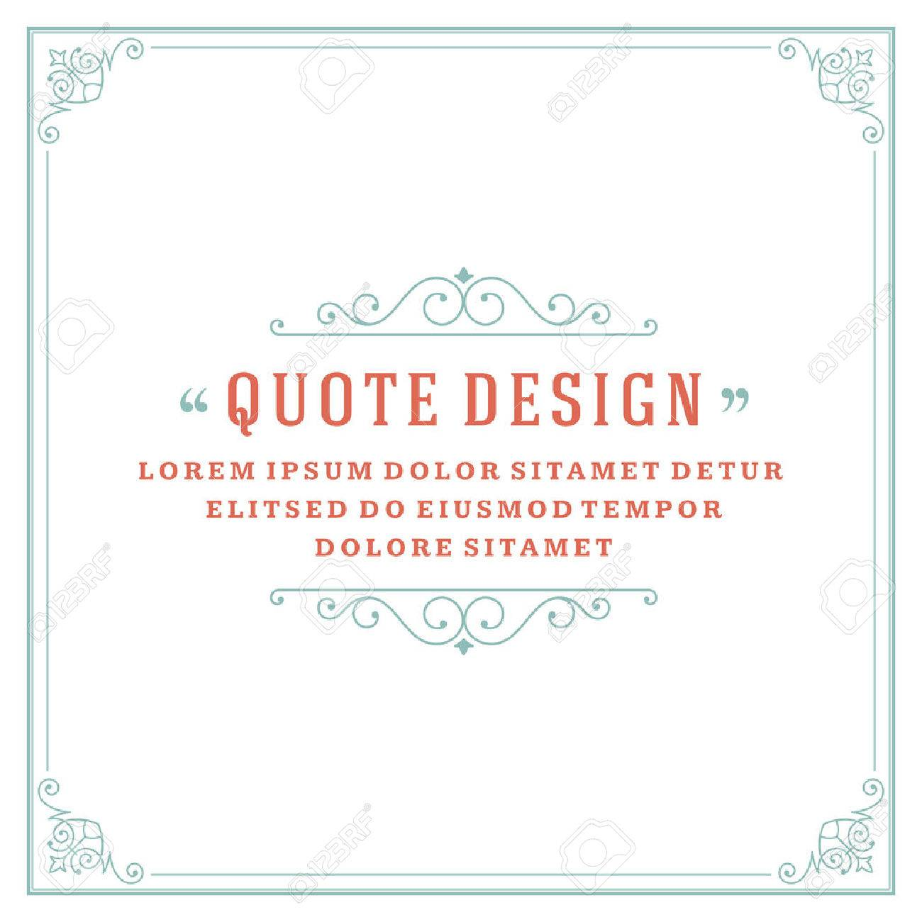 Vintage Ornament Quote Marks Box Frame Vector template design and place for text. Retro flourishes frame style. - 49340111