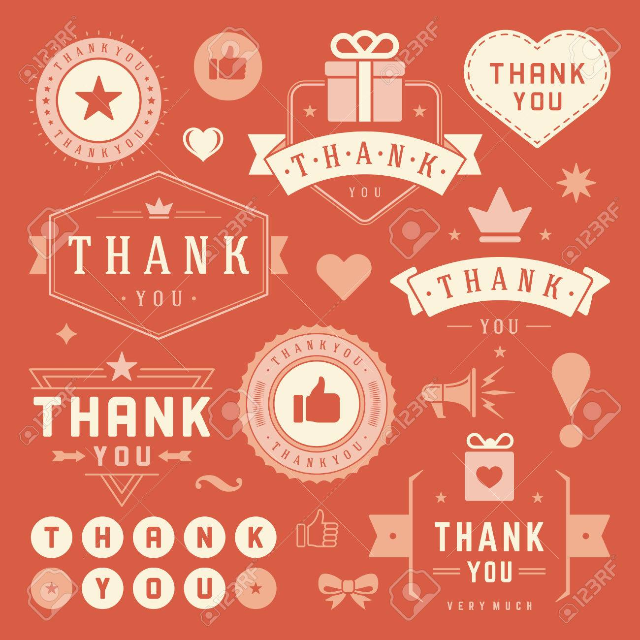 Thank You Labels And Badges Typography Design Elements Set Hearts