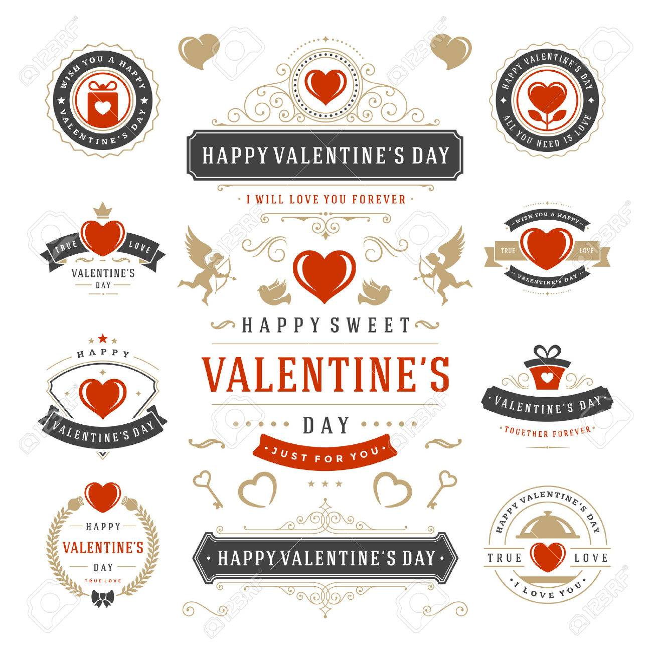 Valentine S Day Labels And Cards Set Heart Icons Symbols Greetings