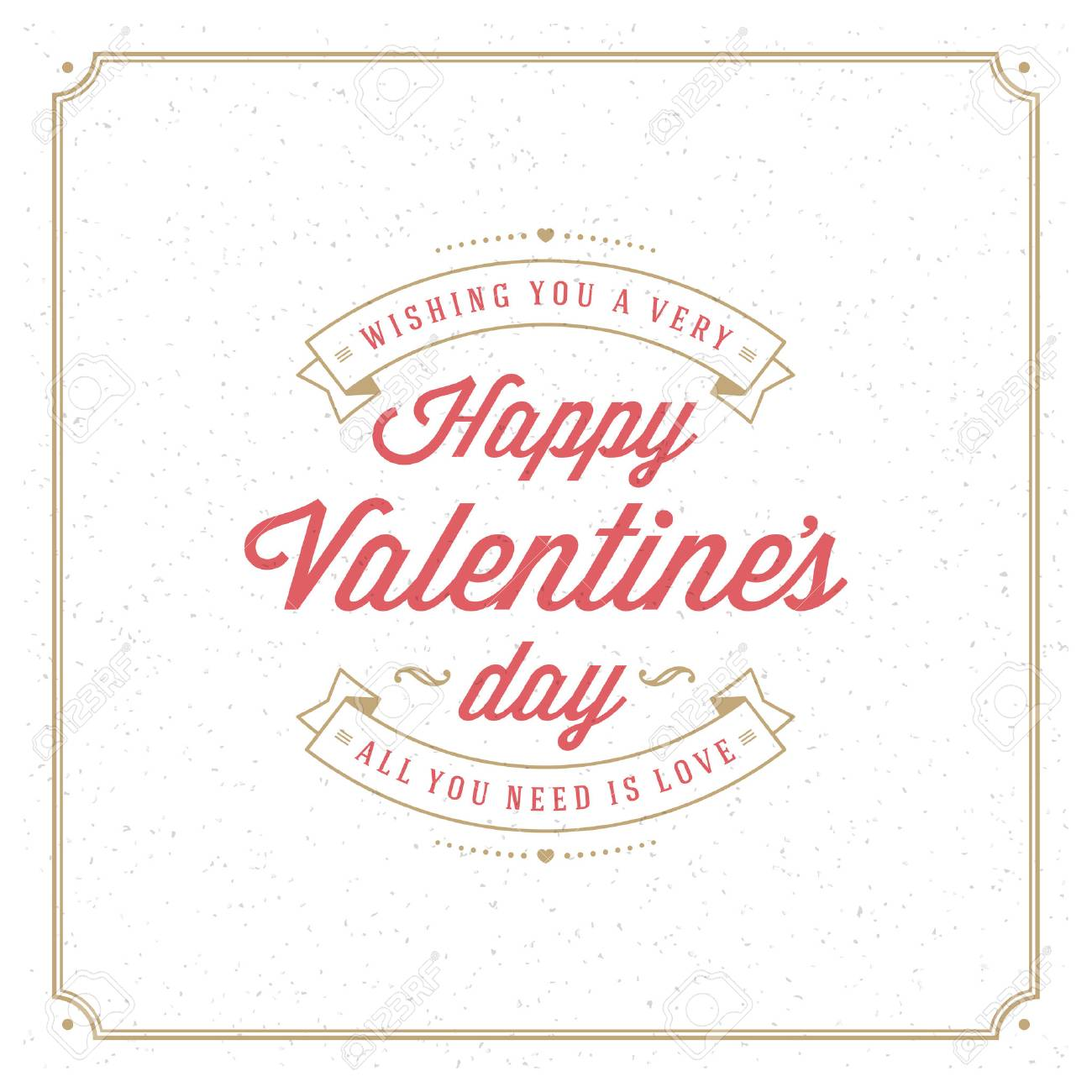 Happy Valentine's Day Greeting Card or Poster Vector illustration. Retro typography design and texture background. Happy Valentines Day background, Valentine Card, Love Heart. - 49971991