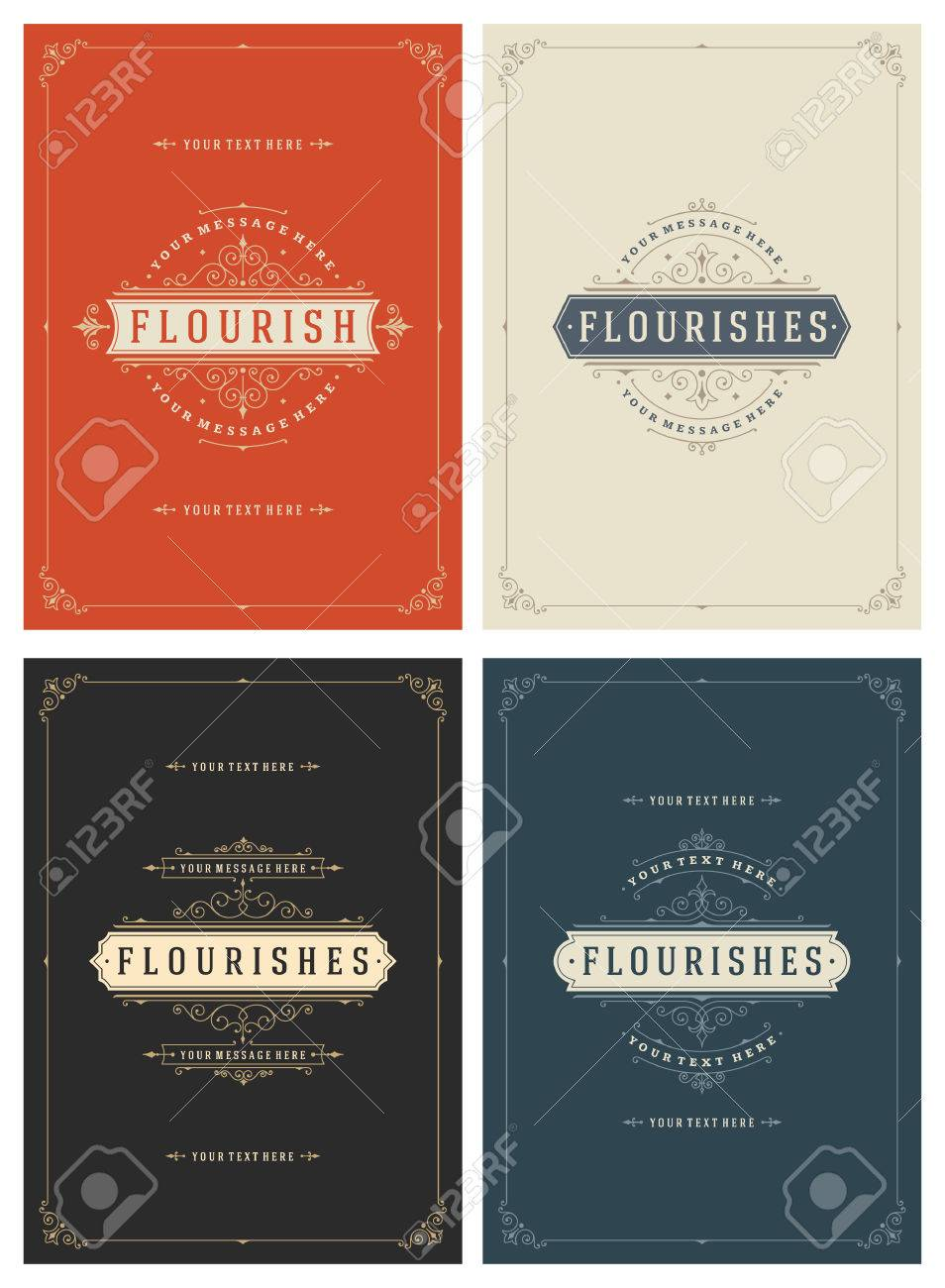 Vintage Ornament Greeting Cards Vector Templates Set. Retro Luxury Invitations, Royal Certificate, Book Covers. Flourishes frame. Vintage Background, Vintage Frame, Vintage Ornament, Ornaments Vector. - 51129506