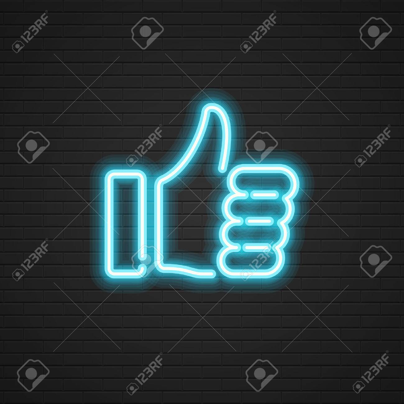 Neon Thumbs Up vector icon Hand, Social media symbol. Website graphics, Mobile Apps, Infographics design. - 51465646