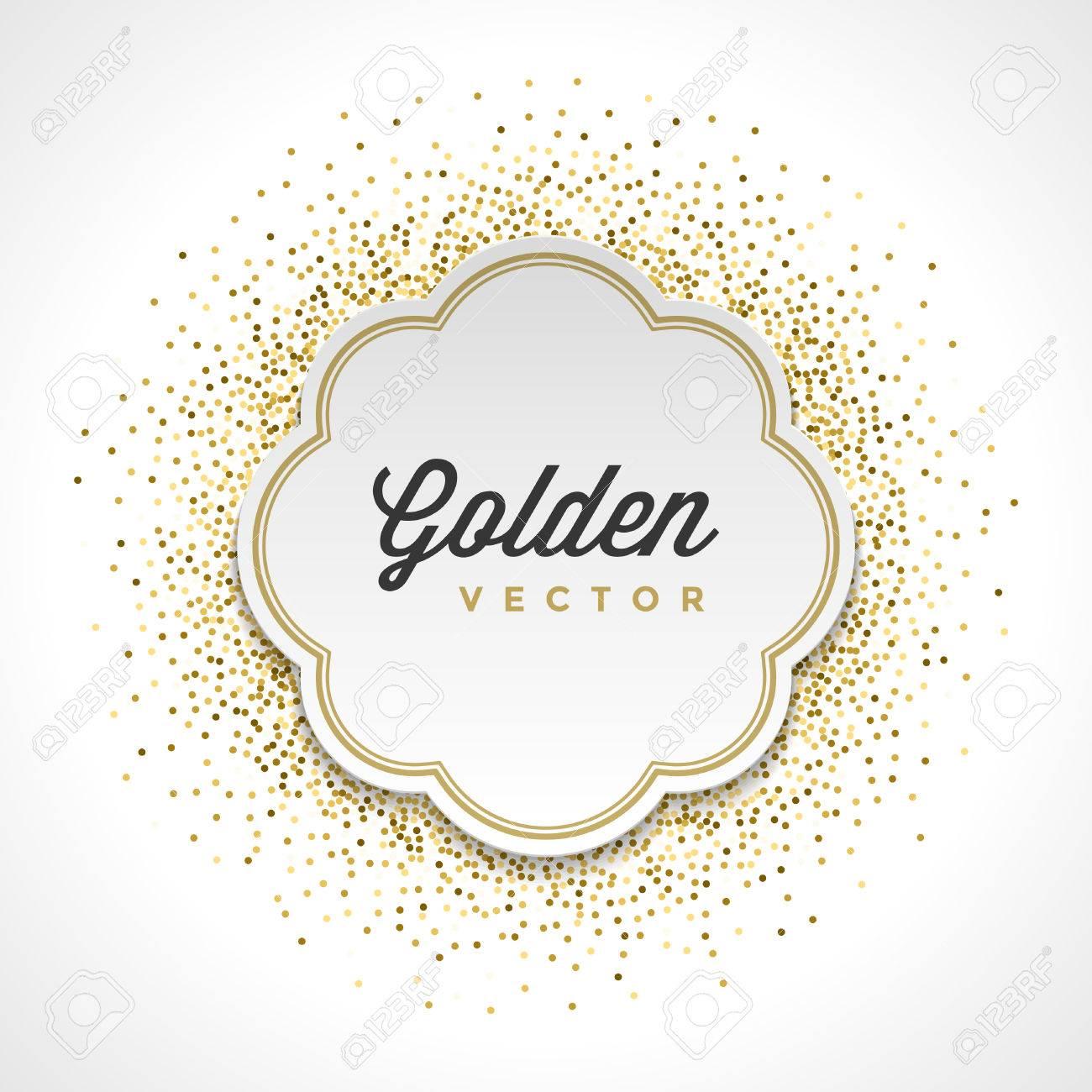 Gold Glitter Sparkles Bright Confetti White Paper Label Frame ...