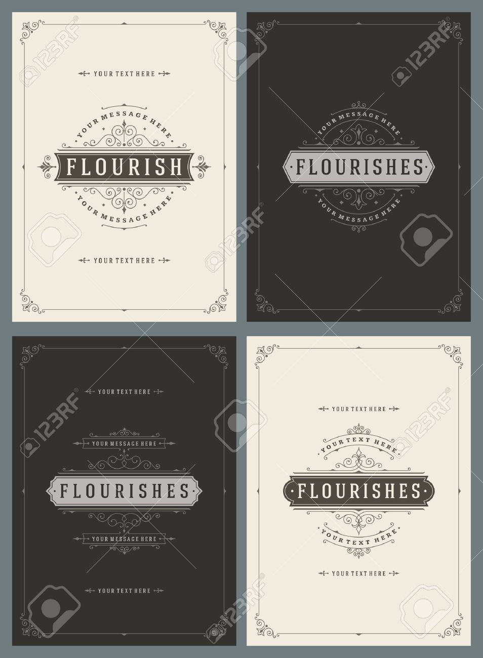 Vintage Ornament Greeting Cards Vector Templates Set. Retro Luxury Invitations, Royal Certificate, Book Covers. Flourishes frame. Vintage Background, Vintage Frame, Vintage Ornament, Ornaments Vector. - 51864586