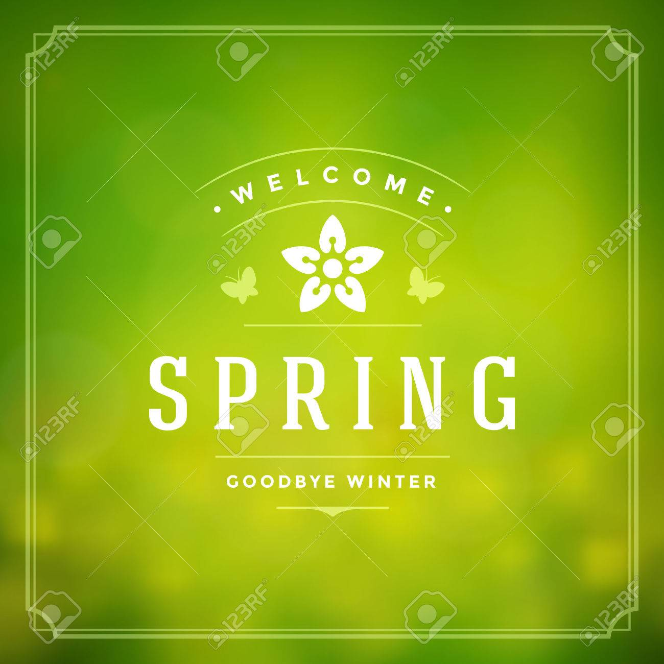 Spring Vector Typographic Poster or Greeting Card Design. Beautiful Blurred Lights with Bokeh and Flower Field. Spring Background, Spring Label, Spring Flowers, Spring Sale, Spring Advertising. - 52491503