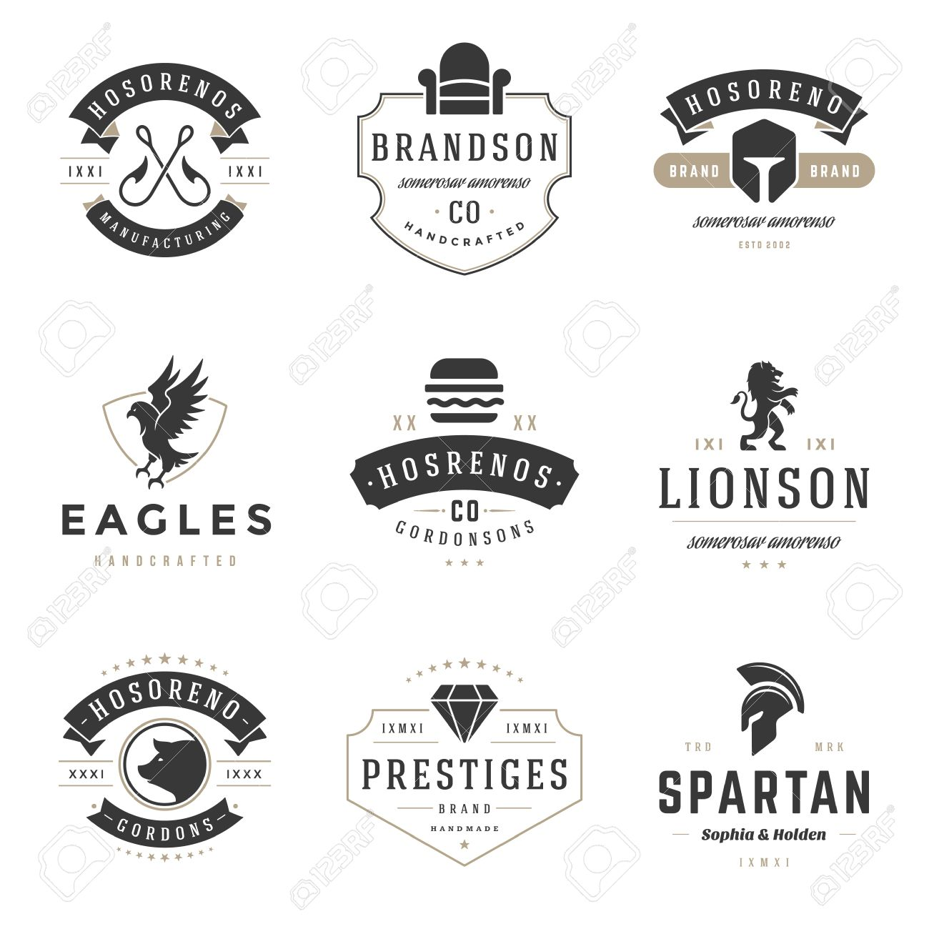 Vintage Design Templates Set Vector Elements Collection Icons