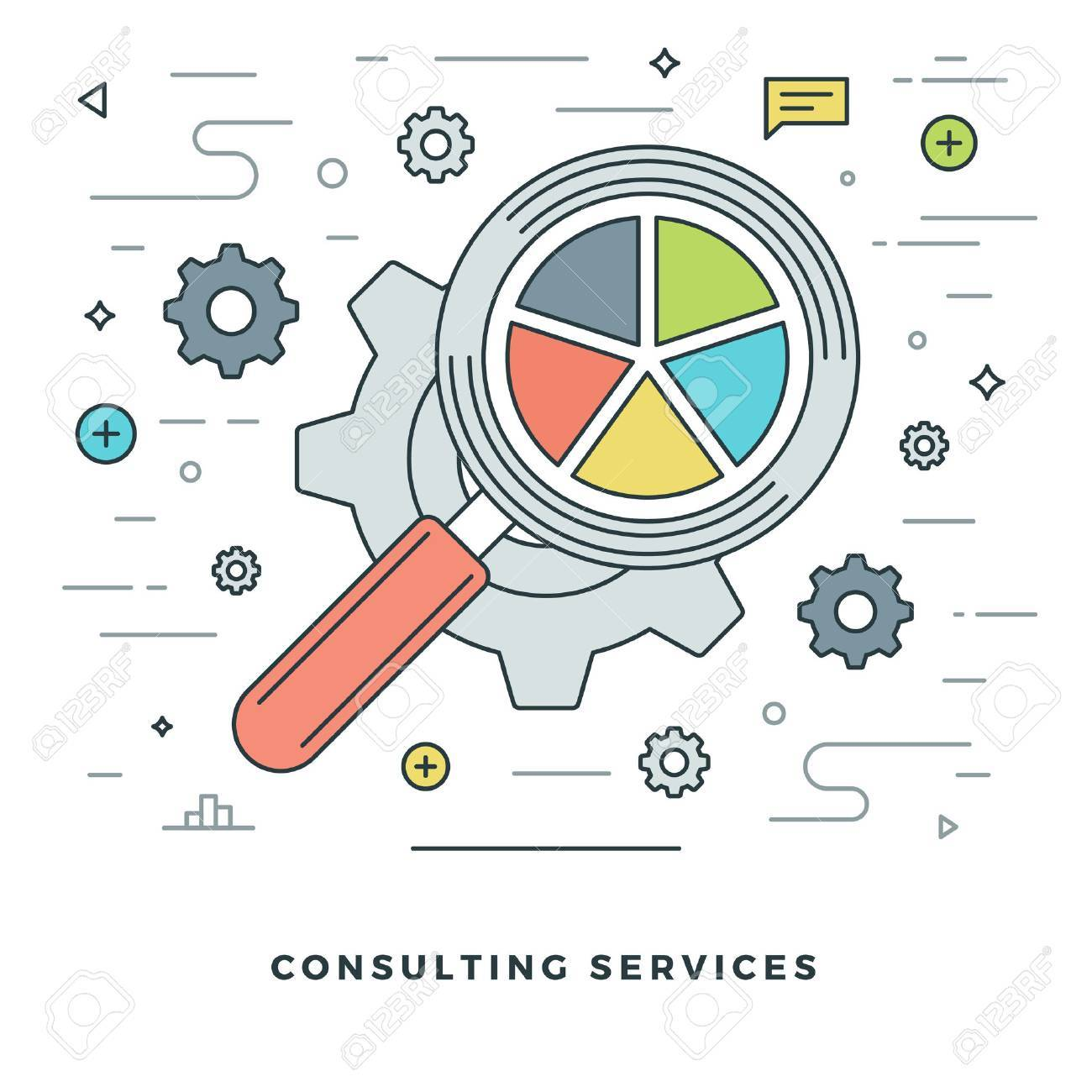 Flat line Consulting Services Concept Vector illustration. Modern thin linear stroke vector icons. Website Header Graphics, Banner, Infographics Design, Promotional Materials. Vector Icons. - 54126181