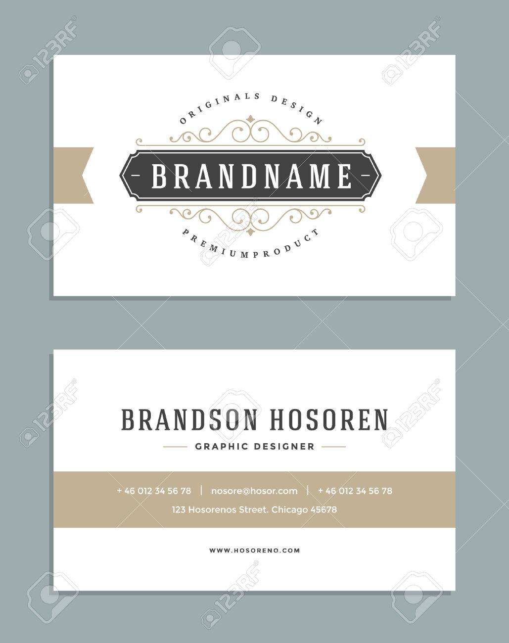 vintage ornament business card vector template retro luxury