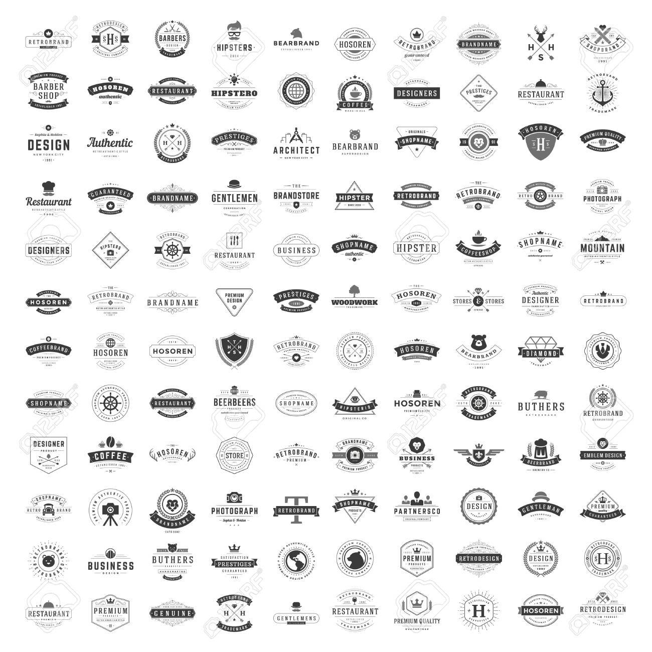 Vintage Logos Design Templates Set. - 54823705