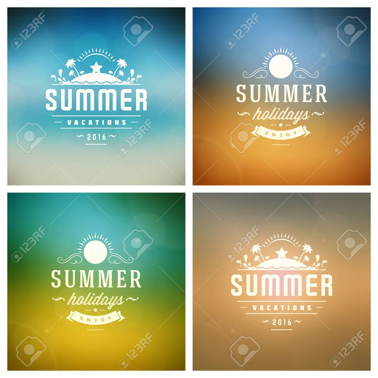Summer Vector Retro Typography Set. Summer holidays messages and Illustrations for Greeting Cards, Party Posters or Flyers Design Vector Backgrounds. Blurred Landscape and Sky with Sun Backdrops. - 56013518