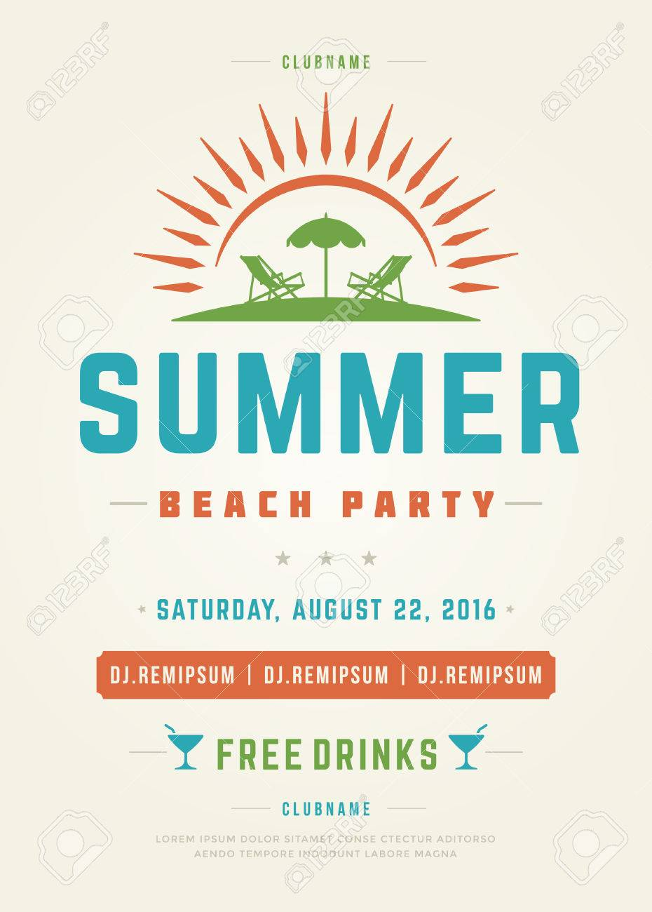 retro summer holidays beach party poster or flyer design template
