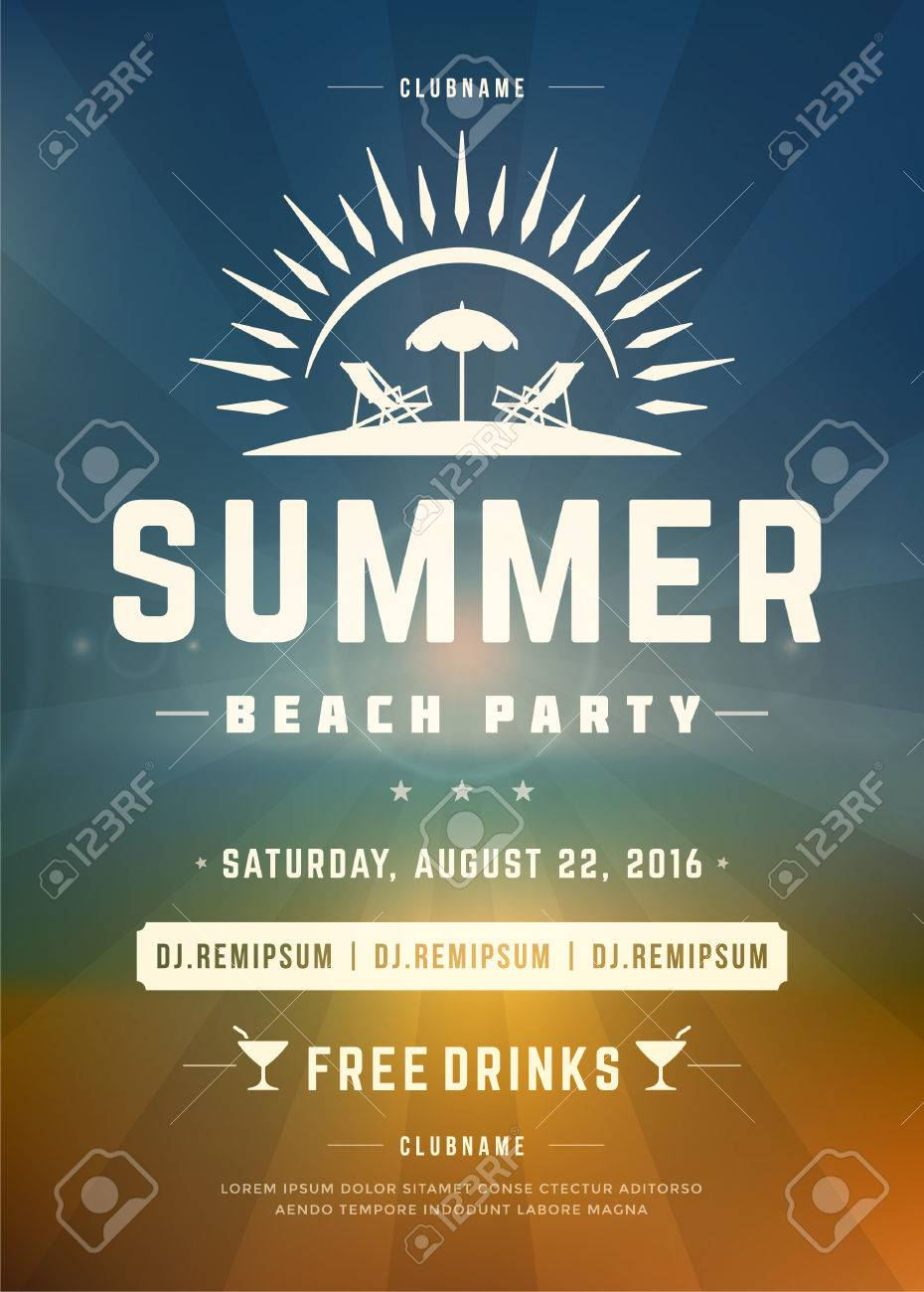 Retro Summer Holidays Beach Party Poster Or Flyer Design Template ...