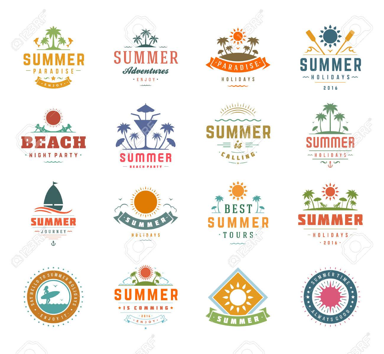 Summer Holidays Design Elements and Typography Set. Retro and Vintage Templates Labels or Badges Good for Posters, Beach Party, Greeting Cards. Vector Illustrations and Objects. Tropical paradise. - 56013535