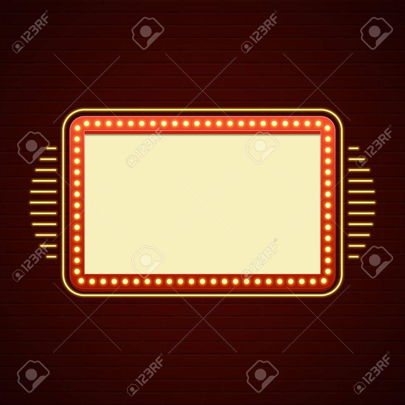 Retro Showtime Sign Design Cinema Signage Glühbirnen Billboard ...