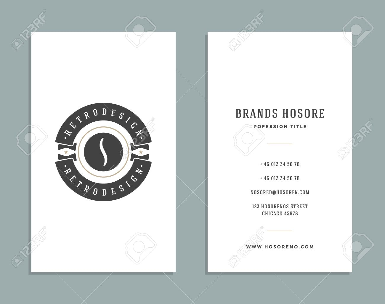 Business Card Design And Retro Style Template Coffee Shop Logo ...