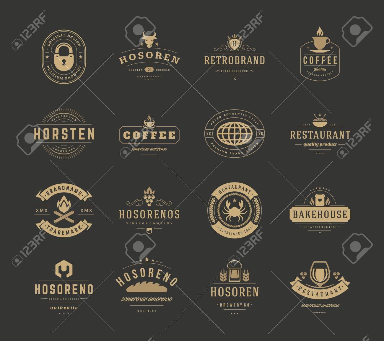 Vintage Design Templates Set, Vector Design Elements. Elements ...