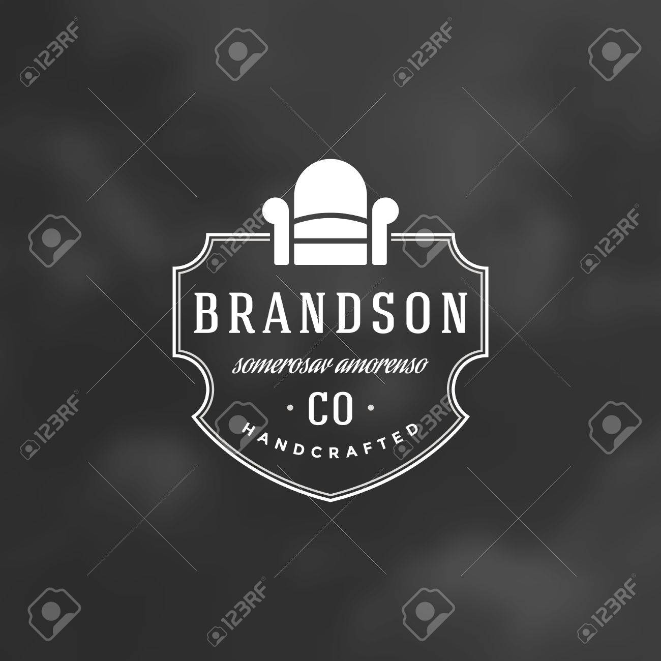 Armchair Furniture Logo Template. Vector Design Element Vintage Style for Logotype or Label Retro illustration. Armchair Silhouette. - 56522197