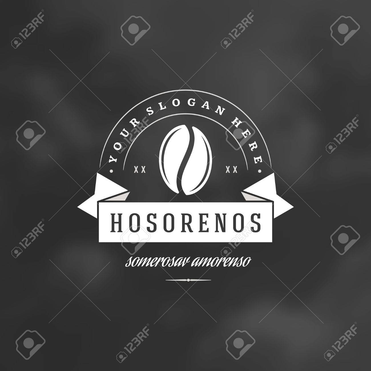 Coffee Shop Logo Design Element in Vintage Style for Logotype, Label, Badge and other design. Bean Silhouette retro vector illustration. - 56522204