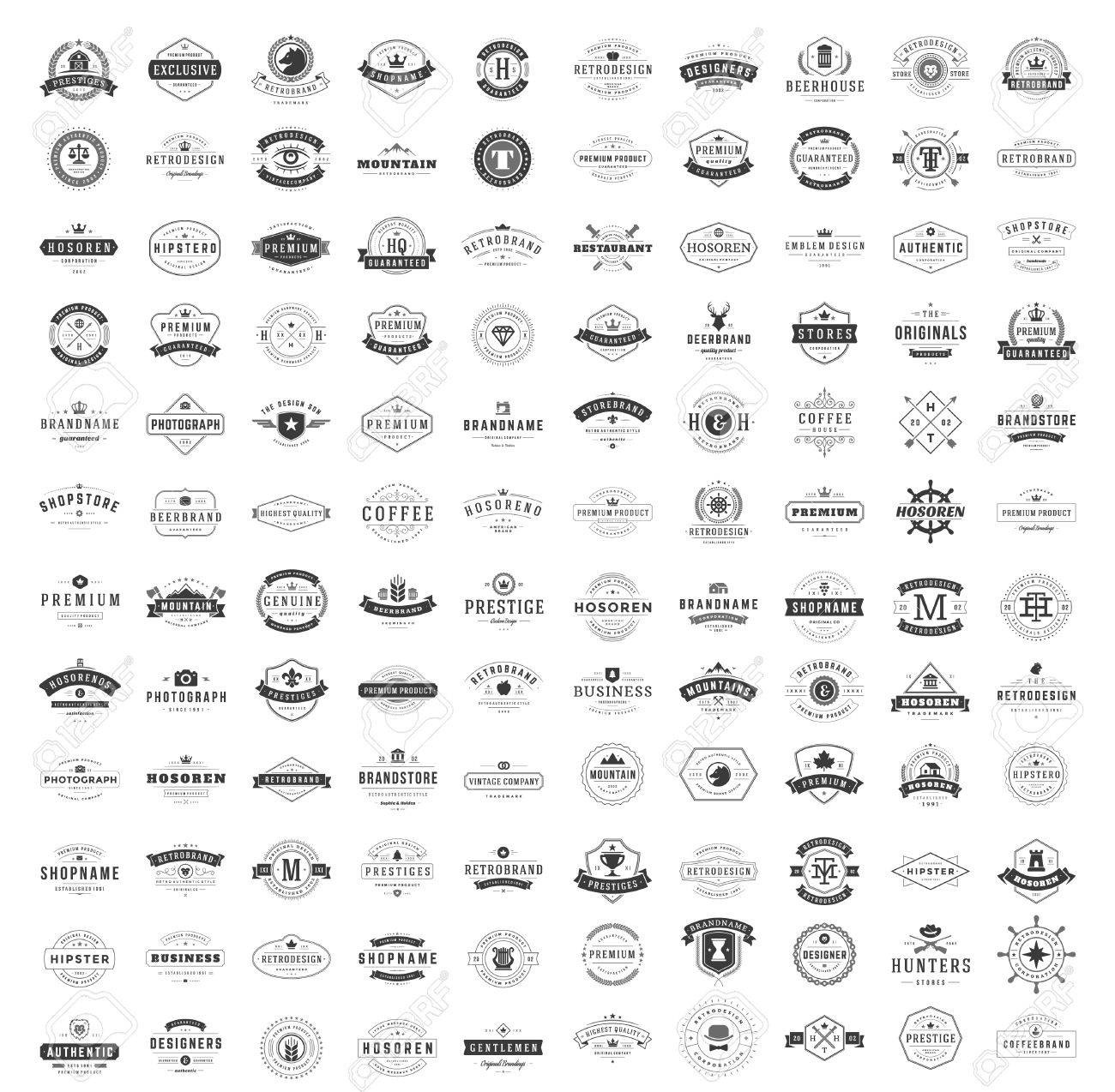 Vintage Logos Design Templates Set. Vector logotypes elements collection, Icons Symbols, Retro Labels, Badges, Silhouettes. Big Collection 120 Items. - 57142358