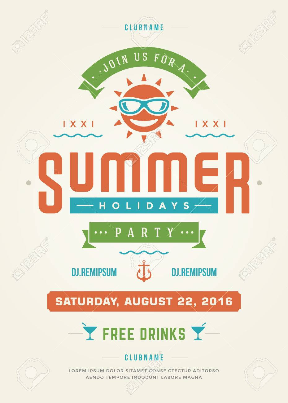 Summer Holidays Beach Party Typography Poster Or Flyer Design