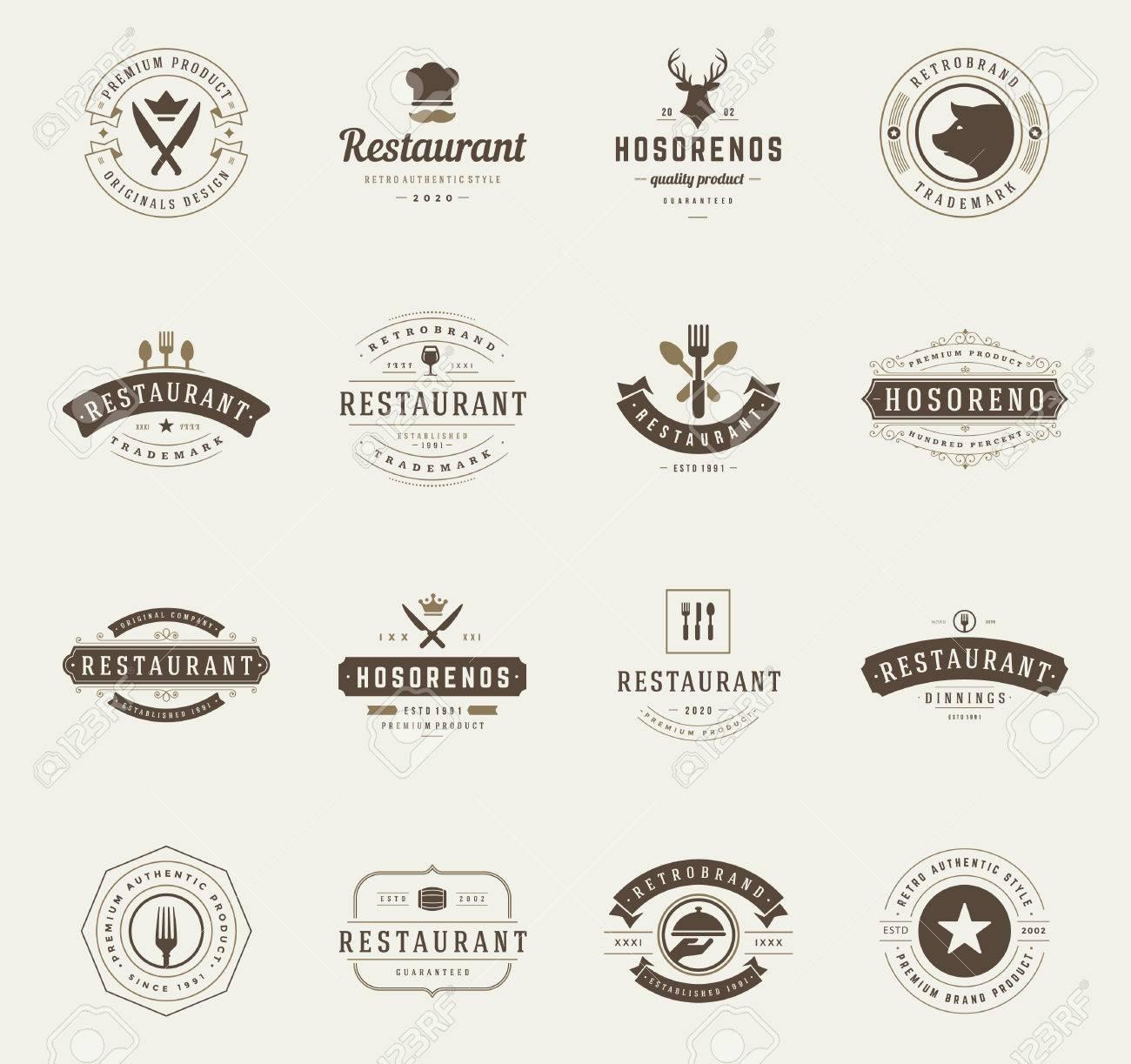 Restaurante Vintage Plantillas De Diseño Establecidas. Elementos Del ...