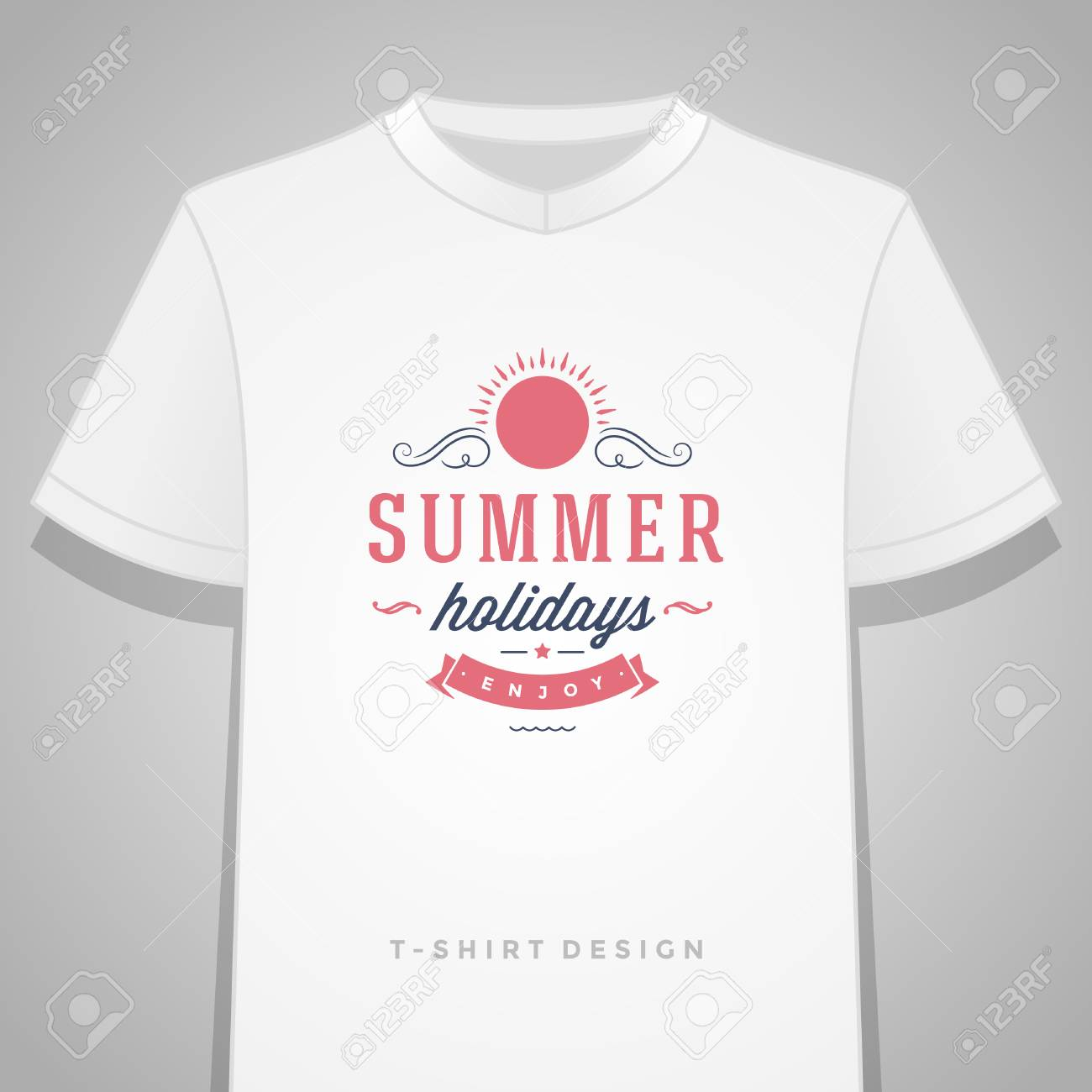 Summer Holidays Typography Tee Shirt Print Graphics Template - T shirt print out template