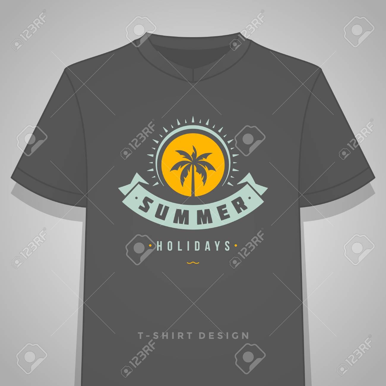 Summer Holidays Typography Tee Shirt Print Graphics Template ...