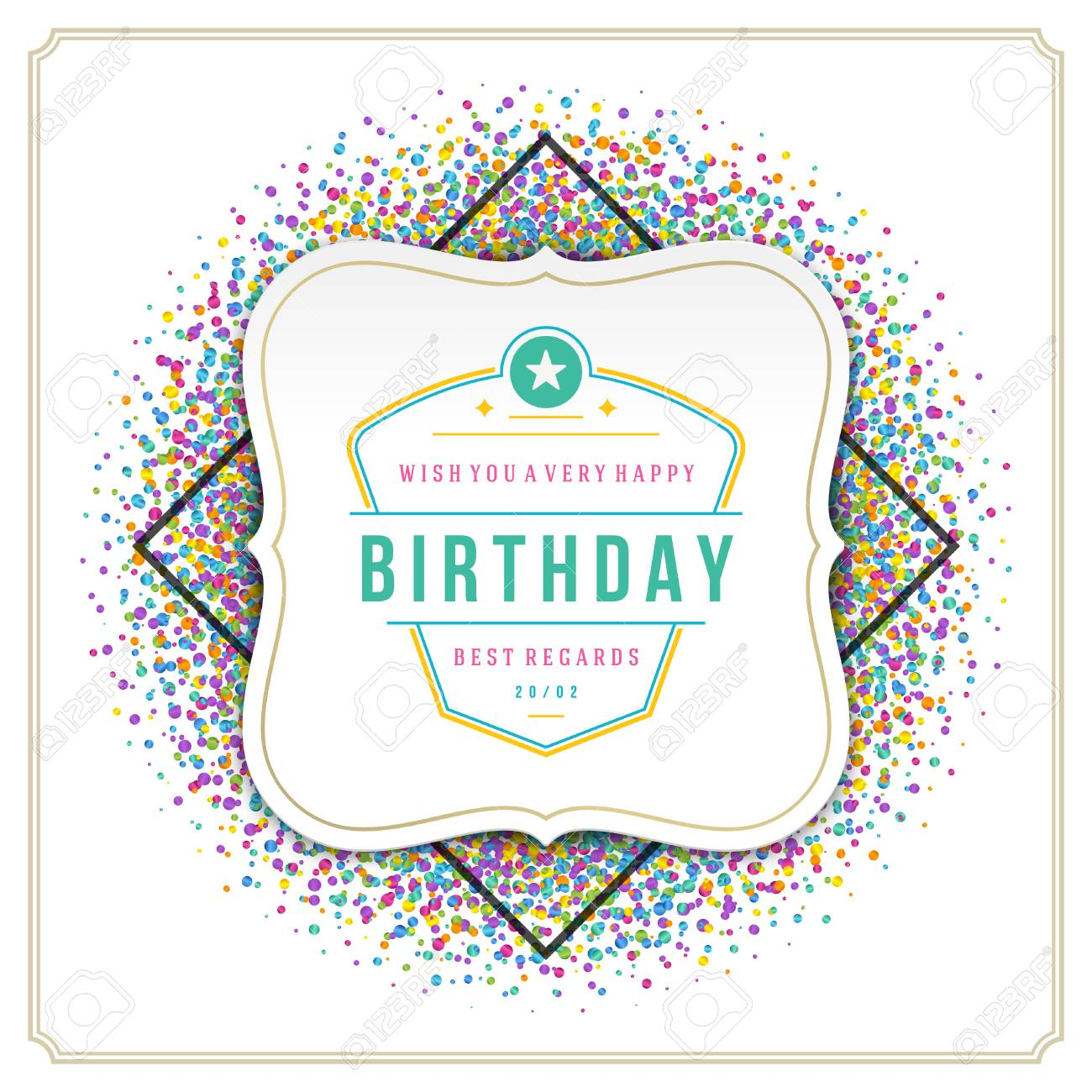 happy birthday greeting card design vector template. vintage