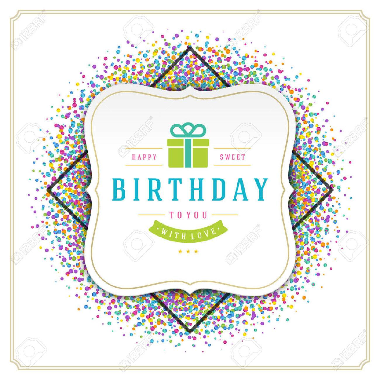 Happy Birthday Greeting Card Design Vector Template Royalty Free