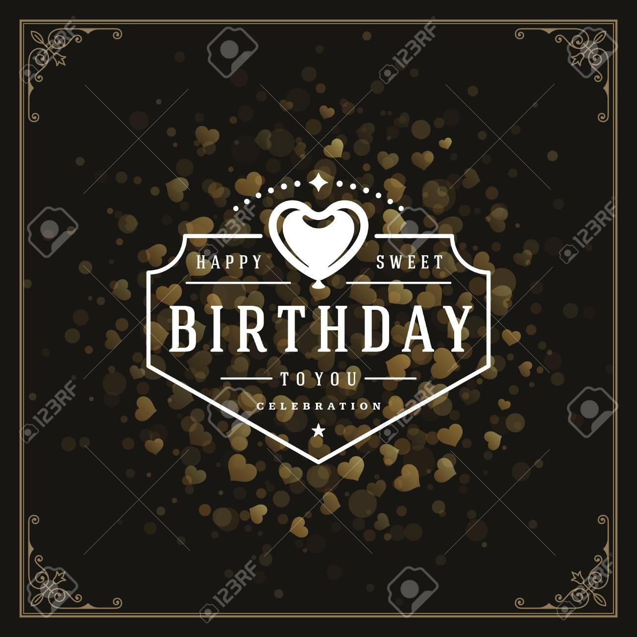 Happy Birthday Greeting Card Design Vector Illustration Stock