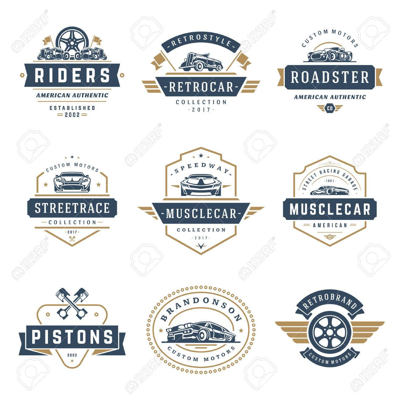 Car logos templates vector design elements set, vintage style emblems and badges retro illustration. Classic cars repairs, tire service silhouettes. - 85239836