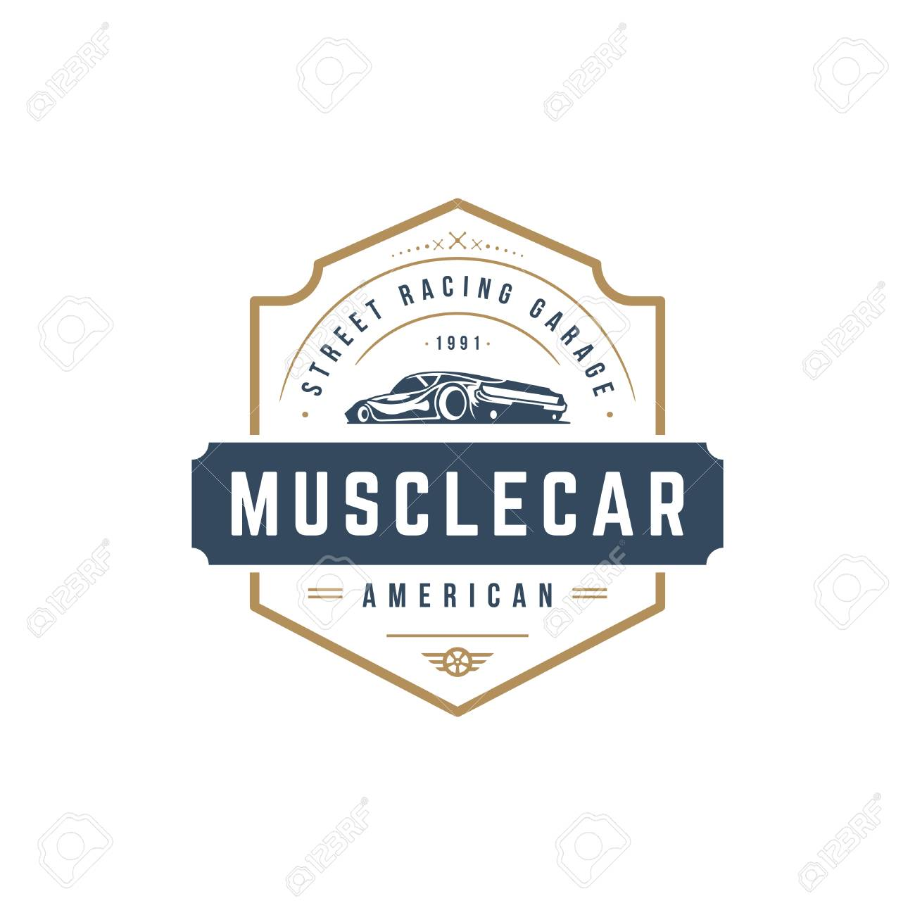 muscle car logo template vector design element vintage style